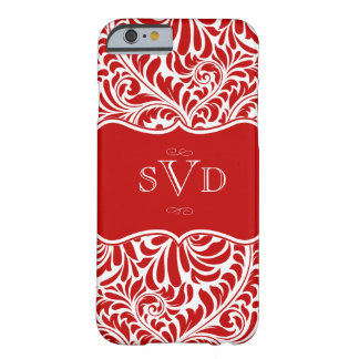 Red Damask Design Monograms Custom Barely There iPhone 6 Case