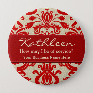 Red Damask Employee Name for Business 4 Inch Round Button