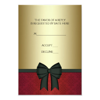 """Red Damask Gold Black Tie Corporate Party RSVP 3.5"""" X 5"""" Invitation Card"""