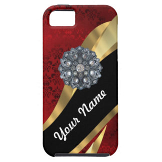 Red damask & gold case for the iPhone 5