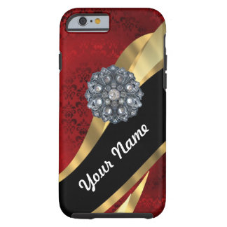 Red damask & gold tough iPhone 6 case