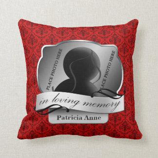 "Red Damask ""In Loving Memory"" In Memoriam Throw Pillow"