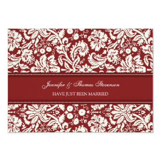 Red Damask Just Married Announcement Cards