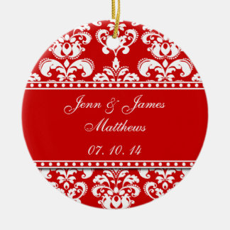 Red Damask Names Date Wedding Ornaments