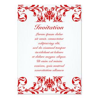 "Red Damask Pattern + Custom Color 5"" X 7"" Invitation Card"