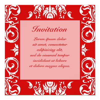 "Red Damask Pattern + Custom Color 5.25"" Square Invitation Card"