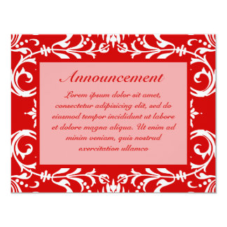 "Red Damask Pattern + Custom Color 4.25"" X 5.5"" Invitation Card"