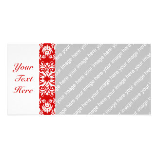Red Damask Pattern + Custom Color Picture Card