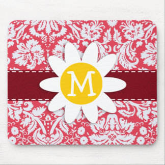 Red Damask Pattern; Daisy Mouse Pads