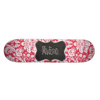 Red Damask Pattern; Vintage Chalkboard Skate Deck