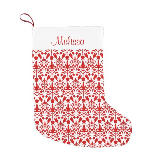 Red Damask Pattern With Custom Name Small Christmas Stocking