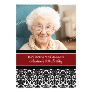 Red Damask Photo 85th Birthday Party Invitations