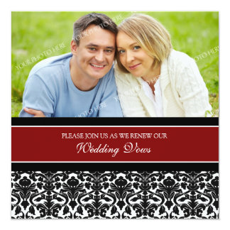 Red Damask Photo Wedding Vow Renewal Invitations