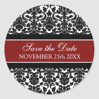 Red Damask Save the Date Envelope Seal