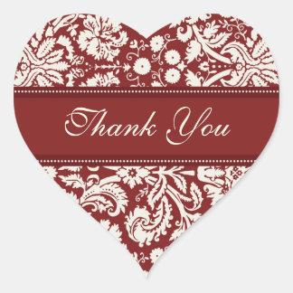 Red Damask Thank You Wedding Envelope Seals Heart Sticker