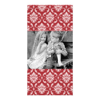 Red Damask Vintage Pattern Photo Card Template