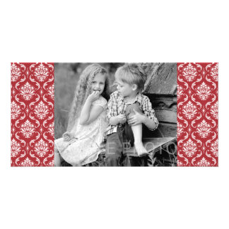 Red Damask Vintage Pattern Photo Cards