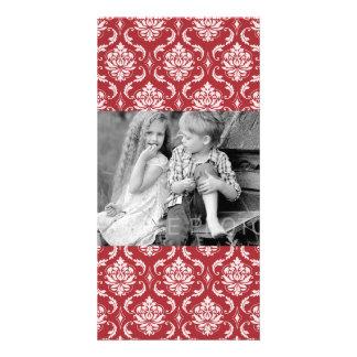 Red Damask Vintage Pattern Picture Card