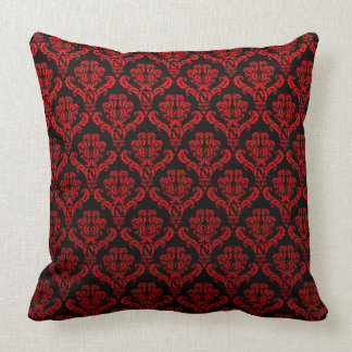 Red Damasks On Black Throw Pillow