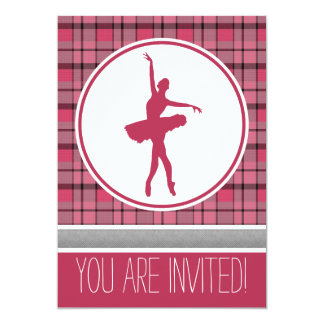 Red Dancer Sweetheart Plaid Party Invitation