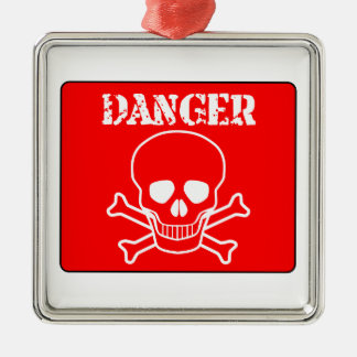 Red Danger Sign Metal Ornament