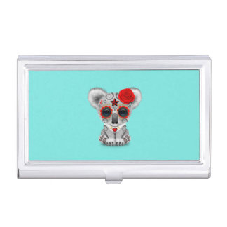 Red Day of the Dead Baby Koala Business Card Holder