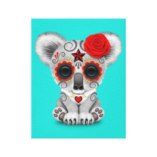 Red Day of the Dead Baby Koala Canvas Print