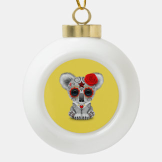 Red Day of the Dead Baby Koala Ceramic Ball Christmas Ornament