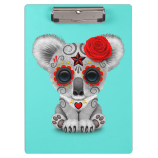 Red Day of the Dead Baby Koala Clipboard
