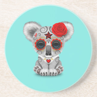 Red Day of the Dead Baby Koala Coaster