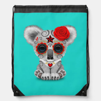 Red Day of the Dead Baby Koala Drawstring Bag