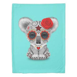 Red Day of the Dead Baby Koala Duvet Cover