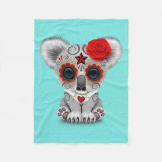 Red Day of the Dead Baby Koala Fleece Blanket