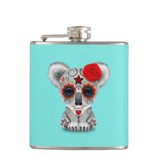 Red Day of the Dead Baby Koala Hip Flask