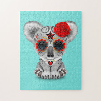 Red Day of the Dead Baby Koala Jigsaw Puzzle