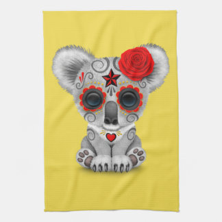 Red Day of the Dead Baby Koala Kitchen Towel