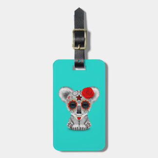 Red Day of the Dead Baby Koala Luggage Tag
