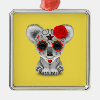 Red Day of the Dead Baby Koala Metal Ornament