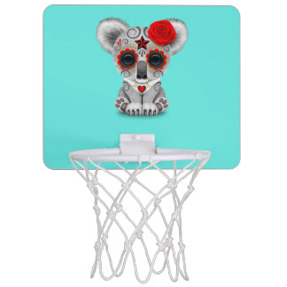 Red Day of the Dead Baby Koala Mini Basketball Hoop
