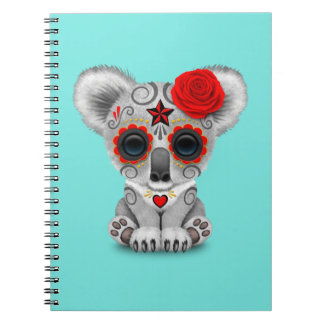 Red Day of the Dead Baby Koala Notebooks