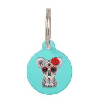 Red Day of the Dead Baby Koala Pet ID Tag