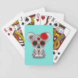 Red Day of the Dead Baby Koala Playing Cards