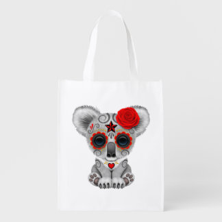 Red Day of the Dead Baby Koala Reusable Grocery Bag
