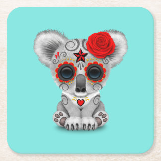 Red Day of the Dead Baby Koala Square Paper Coaster