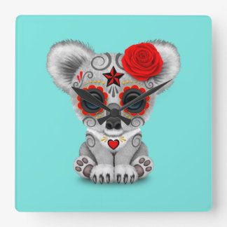 Red Day of the Dead Baby Koala Square Wall Clock