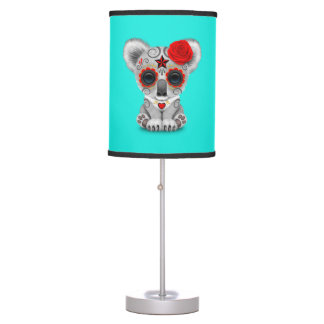 Red Day of the Dead Baby Koala Table Lamp
