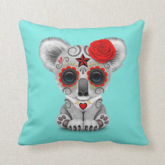 Red Day of the Dead Baby Koala Throw Pillow