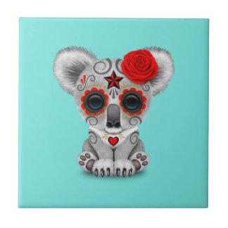 Red Day of the Dead Baby Koala Tile