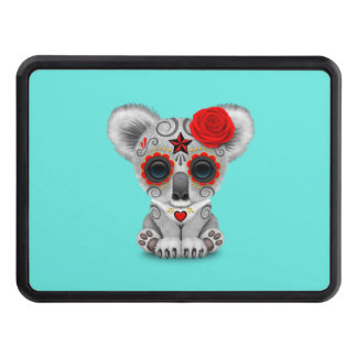 Red Day of the Dead Baby Koala Trailer Hitch Cover