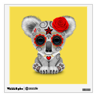 Red Day of the Dead Baby Koala Wall Sticker